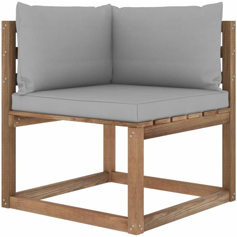Canape d'angle palette de jardin avec coussins gris