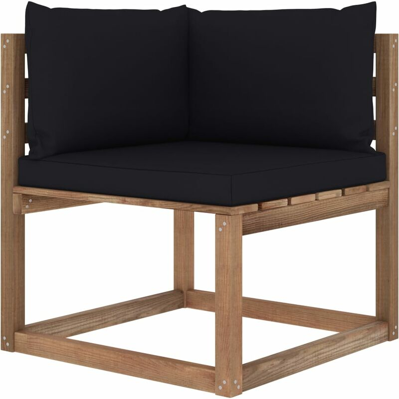 Canapé d'angle palette de jardin avec coussins noir5339-A