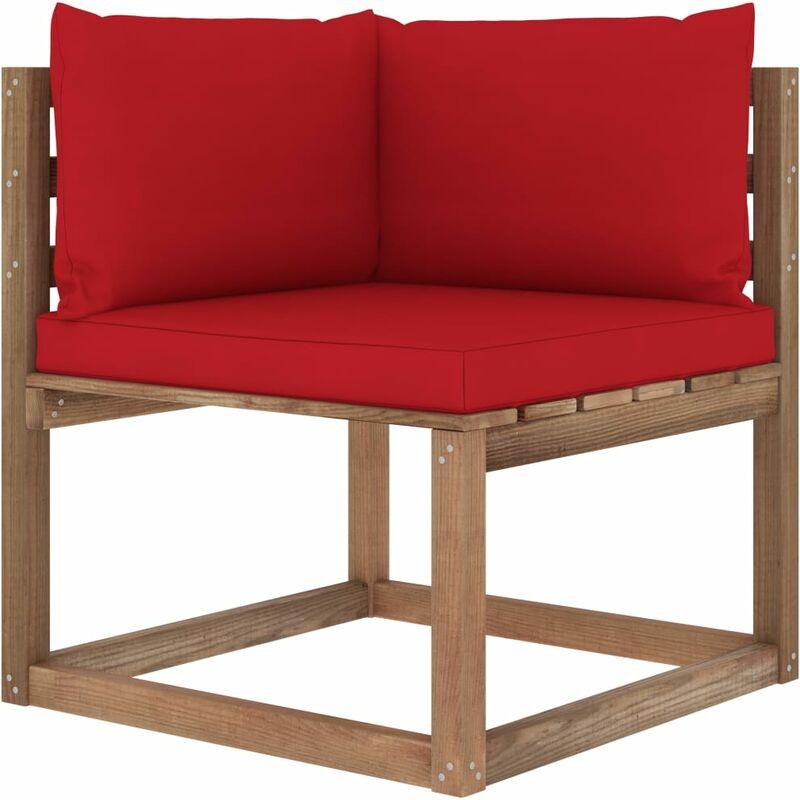 Canapé d'angle palette de jardin avec coussins rouge