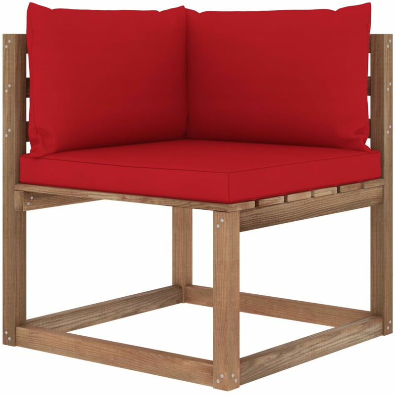 Canape d'angle palette de jardin avec coussins rouge