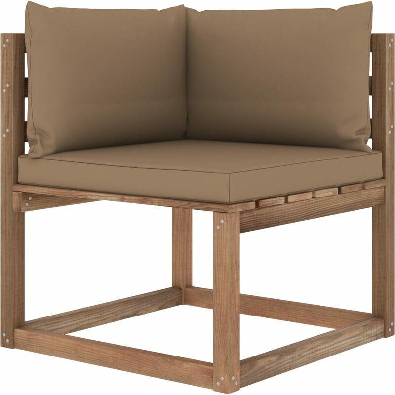 Canapé d'angle palette de jardin avec coussins taupe