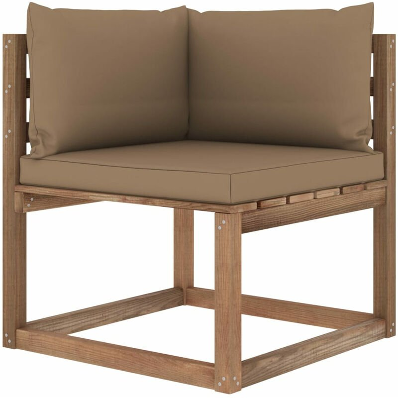 Canape d'angle palette de jardin avec coussins taupe