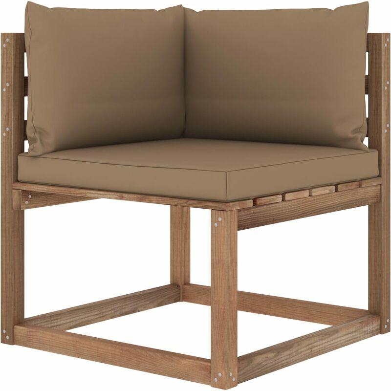 Canapé d'angle palette de jardin avec coussins taupe5340-A