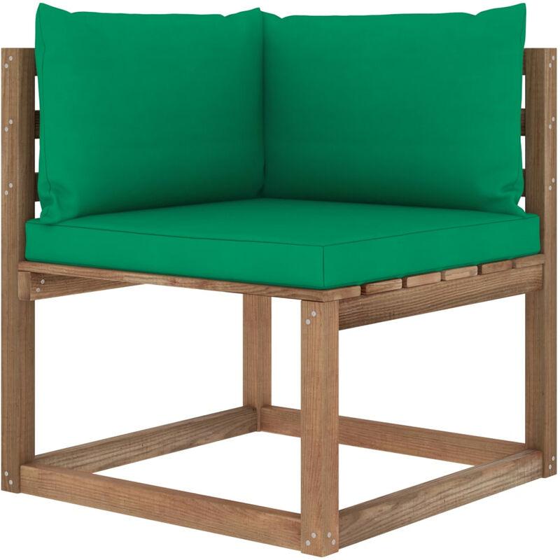 Canape d'angle palette de jardin avec coussins vert