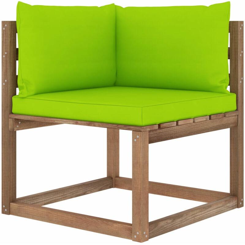 Asupermall - Canape d'angle palette de jardin avec coussins vert vif