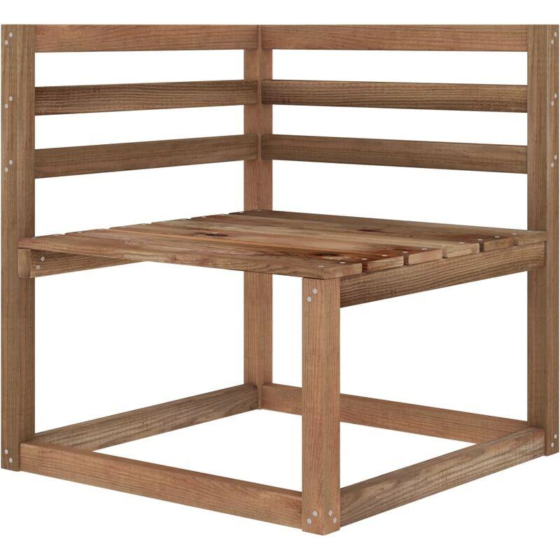 Canapé d'angle palette de jardin Marron Bois de pin imprégné7471-A