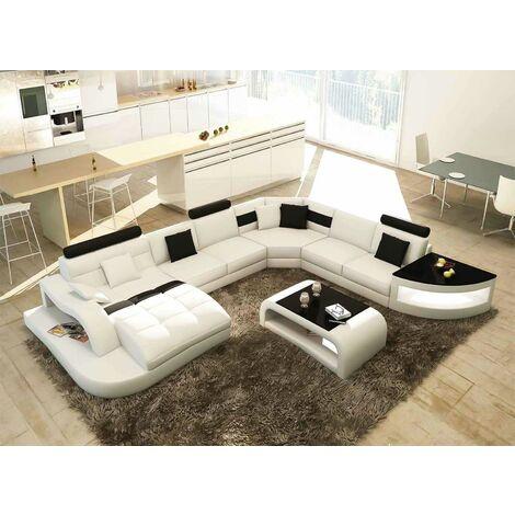 Canapé d'angle panoramique blanc et noir ISTANBUL - Angle Gauche