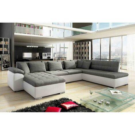 Canapé d'angle panoramique convertible en tissu et simili gris et blanc ATEMA - Angle Gauche
