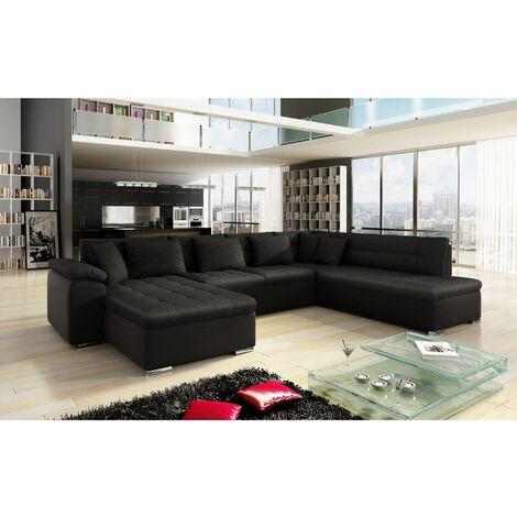 Canapé d'angle panoramique convertible en tissu noir ATEMA - Angle Gauche