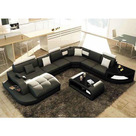 Canapé d'angle panoramique en cuir noir et blanc ISTANBUL - Angle Gauche