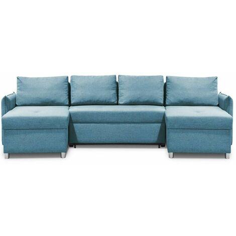 Canapé d'angle panoramique en U et convertible KIRSTEN Bleu Paon couchage 120x190cm Méridiennes Coffre - bleu