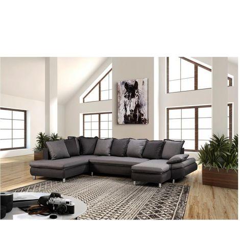 Canapé d'angle panoramique méridienne + chaise longue HAMILTON tissu bi-ton savana gris et gris garphite