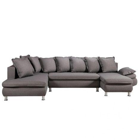 Canapé d'angle panoramique méridienne + chaise longue HAMILTON tissu savana gris