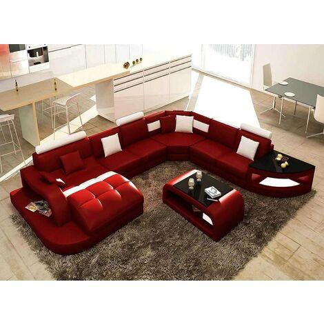 Canapé d'angle panoramique rouge et blanc ISTANBUL - Angle Gauche