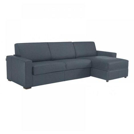 Canapé d'angle RAPIDO DREAMER sommier lattes 140cm tweed bleu matelas 16 cm