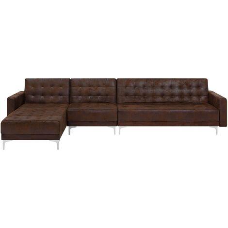 Canapé d'angle rétro en simili cuir marron apportant style et confort
