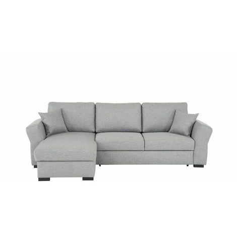 Canapé d'angle réversible convertible avec coffre NIZZA tissu gris malmo - gris