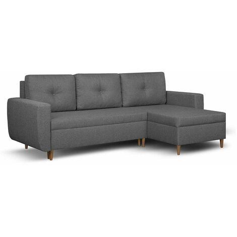 Canapé d'angle réversible et convertible gigogne DORO gris couchage 140x200cm - gris