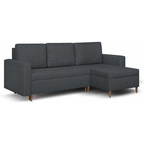Canapé d'angle réversible et convertible gigogne KEN anthracite couchage 140x200cm - gris
