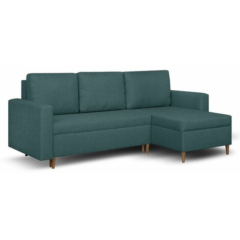 Canapé d'angle réversible et convertible gigogne KEN bleu paon couchage 140x200cm - bleu