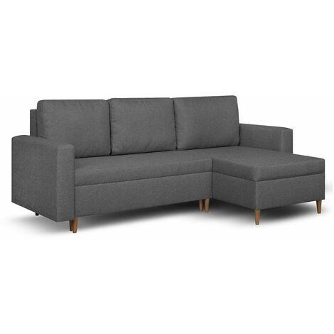 Canapé d'angle réversible et convertible gigogne KEN gris couchage 140x200cm - gris