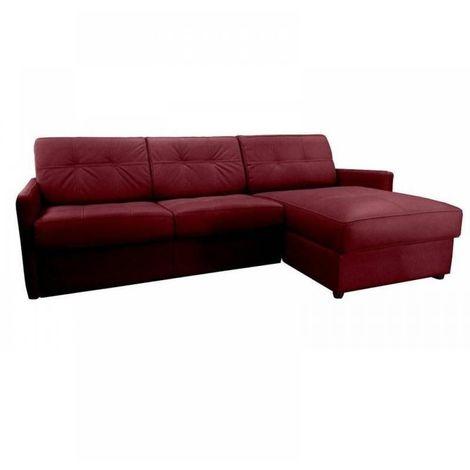 Canapé d'angle réversible EXPRESS CUBE DELUXE 160cm + coffre. Cuir vachette bordeaux. matelas 16 cm - bordeaux