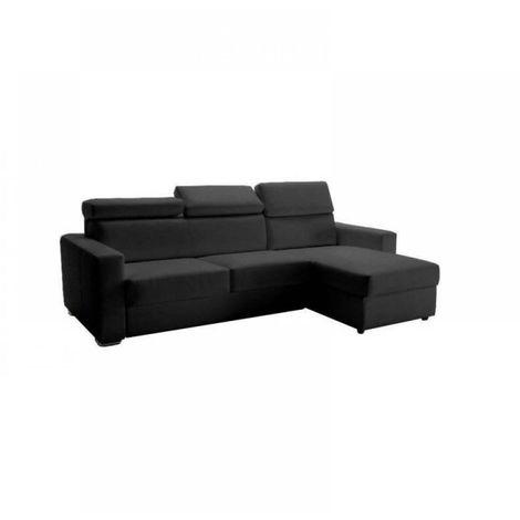 Canapé d'angle réversible EXPRESS SIDNEY DELUXE 160 cm cuir vachette graphite têtières réglables matelas 16 cm - gris