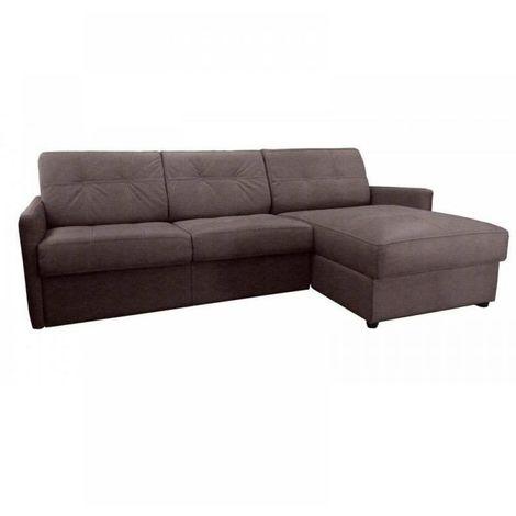Canapé d'angle réversible RAPIDO CUBE 120 cm + coffre. Tissu Microfibre taupe. matelas 16 cm