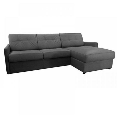 Canapé d'angle réversible RAPIDO CUBE 140 cm + coffre. Tissu Microfibre gris graphite. matelas 16 cm