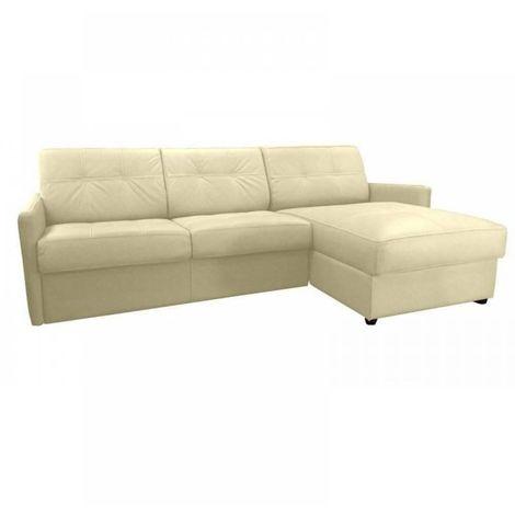 Canapé d'angle réversible RAPIDO CUBE DELUXE 160cm + coffre. Cuir vachette beige. matelas 16 cm