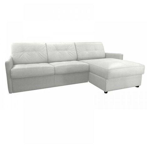 Canapé d'angle réversible RAPIDO CUBE DELUXE 160cm + coffre. Cuir vachette blanc. matelas 16 cm