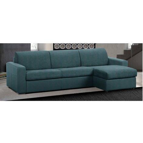 Canapé d'angle réversible RAPIDO MASTER COUCHAGE 160cm MATELAS 18CM microfibre bleu azur