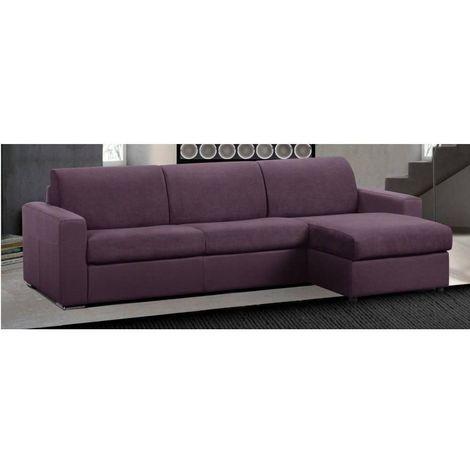 Canapé d'angle réversible RAPIDO MASTER COUCHAGE 160cm MATELAS 18CM microfibre lila