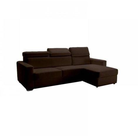 Canapé d'angle réversible RAPIDO SIDNEY DELUXE 120 cm cuir vachette marron têtières réglables matelas 16 cm