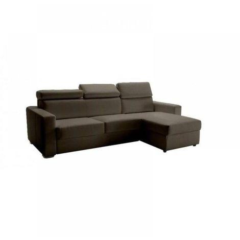 Canapé d'angle réversible RAPIDO SIDNEY DELUXE 120 cm cuir vachette taupe têtières réglables matelas 16 cm
