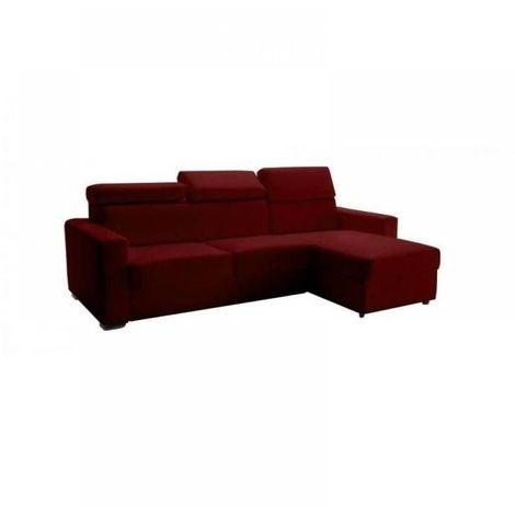 Canapé d'angle réversible RAPIDO SIDNEY DELUXE 140 cm cuir vachette bordeaux têtières réglables matelas 16 cm