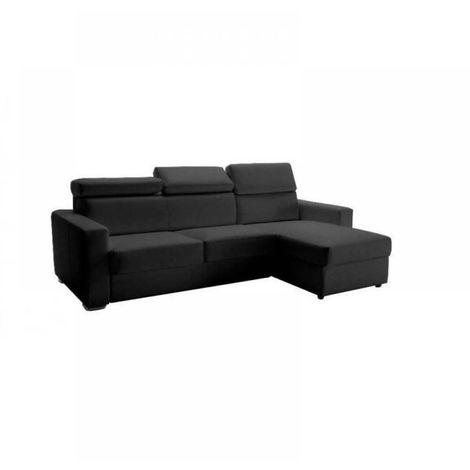 Canapé d'angle réversible RAPIDO SIDNEY DELUXE 140 cm cuir vachette gris têtières réglables matelas 16 cm