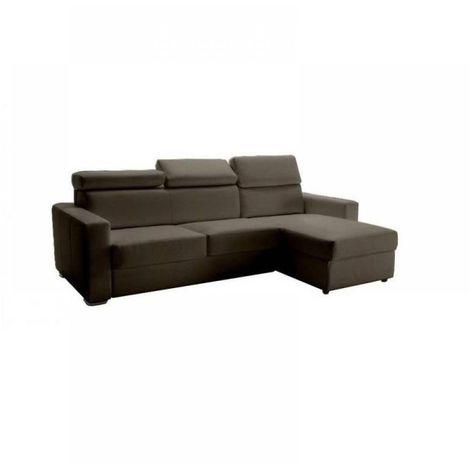 Canapé d'angle réversible RAPIDO SIDNEY DELUXE 140 cm cuir vachette taupe têtières réglables matelas 16 cm