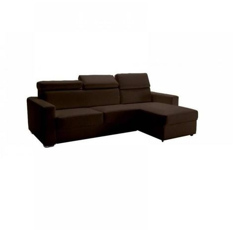 Canapé d'angle réversible RAPIDO SIDNEY DELUXE 160 cm cuir vachette marron têtières réglables matelas 16 cm
