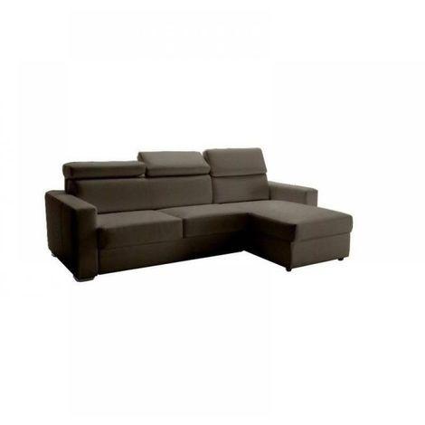Canapé d'angle réversible RAPIDO SIDNEY DELUXE 160 cm cuir vachette taupe têtières réglables matelas 16 cm