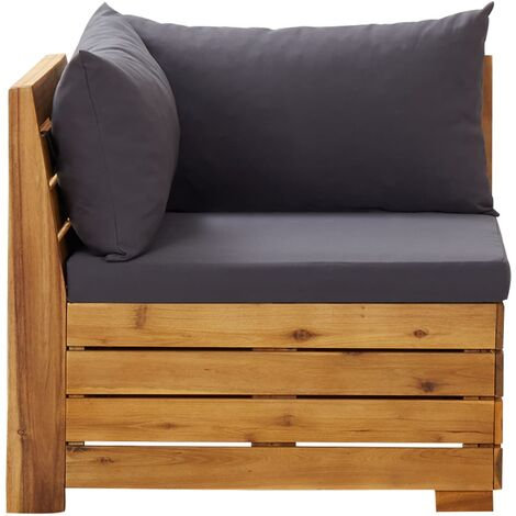 Canapé d'angle sectionnel 1 pc et coussins Bois d'acacia massif