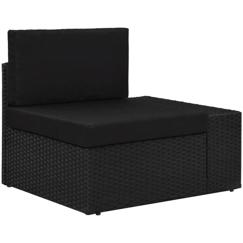 Canape d'angle sectionnel accoudoir gauche Resine tressee Noir