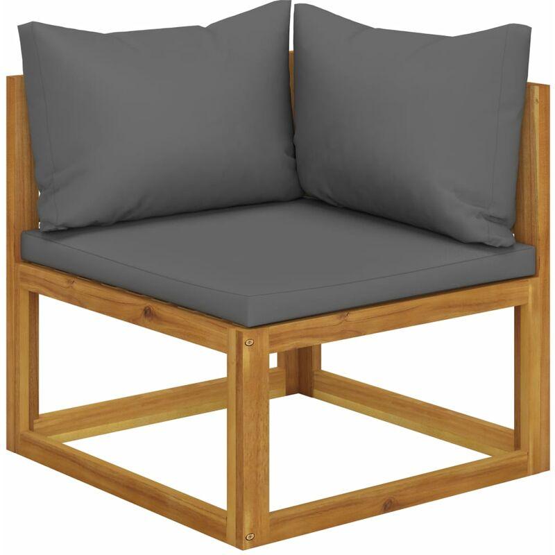 Canapé d'angle sectionnel avec coussin gris foncé Bois d'acacia
