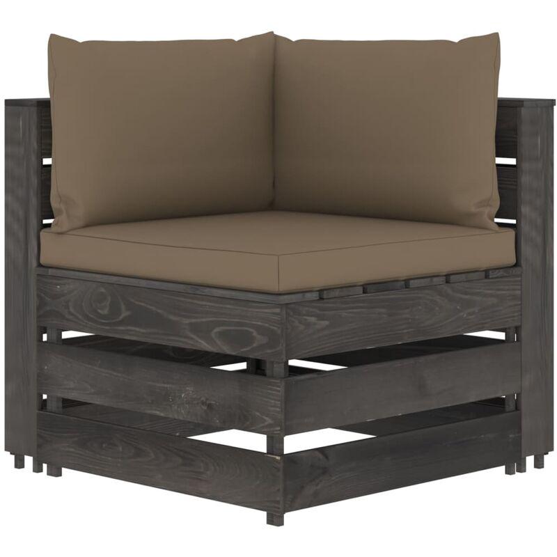 Canapé d'angle sectionnel avec coussins Bois imprégné de gris