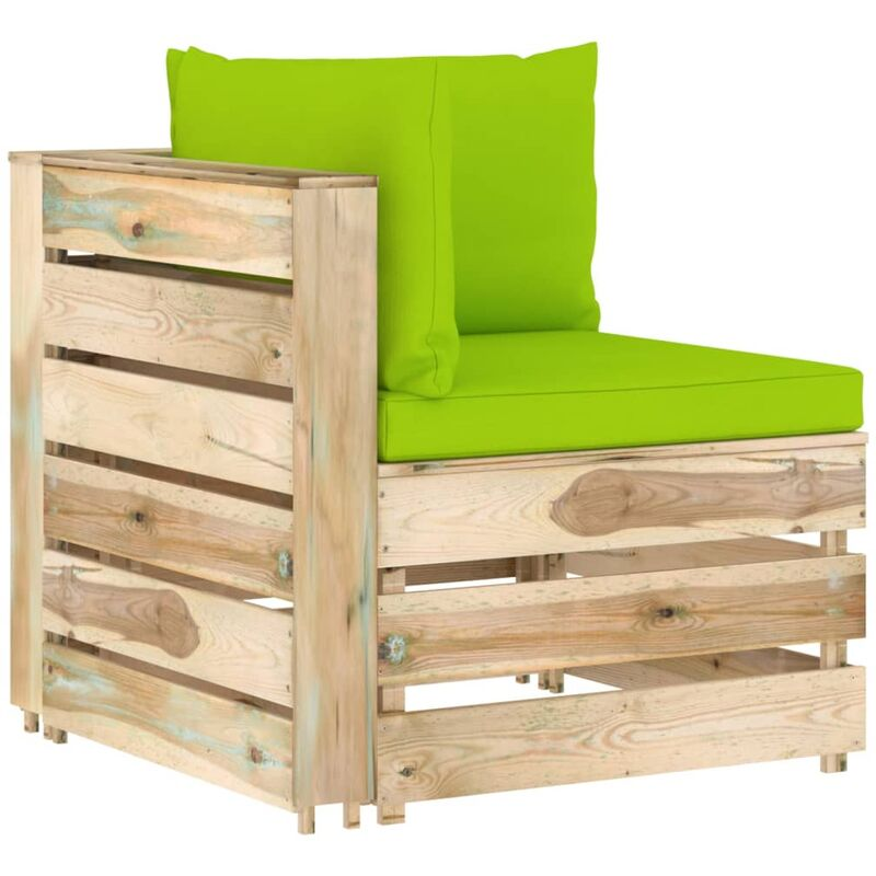 Canapé d'angle sectionnel avec coussins Bois imprégné de vert