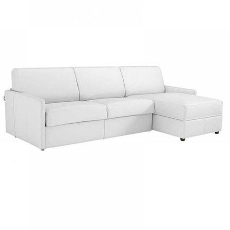 Canapé d'angle SUN convertible RAPIDO 120cm cuir vachette blanc casse matelas épaisseur 16cm