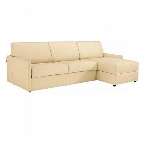 Canapé d'angle SUN convertible RAPIDO 140cm cuir vachette beige matelas épaisseur 16cm