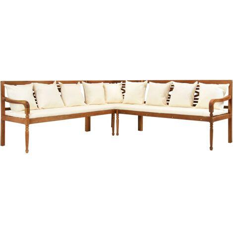 Canapé de jardin 3 pcs avec coussins Bois d'acacia solide
