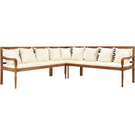 Canape de jardin 3 pcs avec coussins Bois d'acacia solide