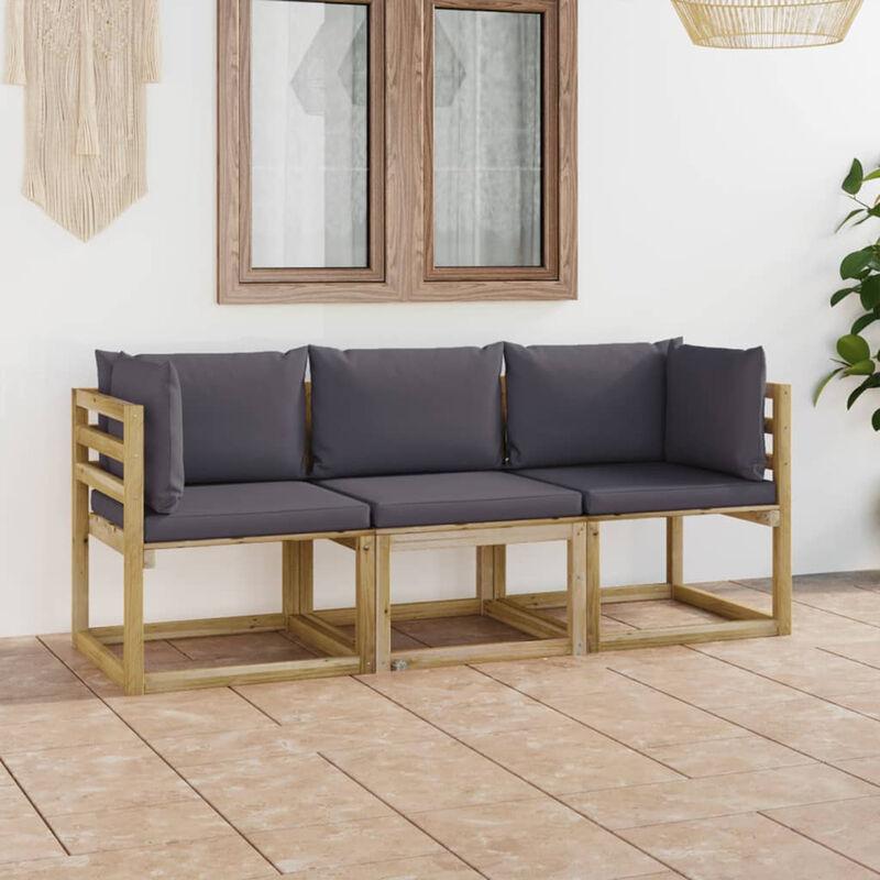 Canape de jardin 3 places avec coussins anthracite